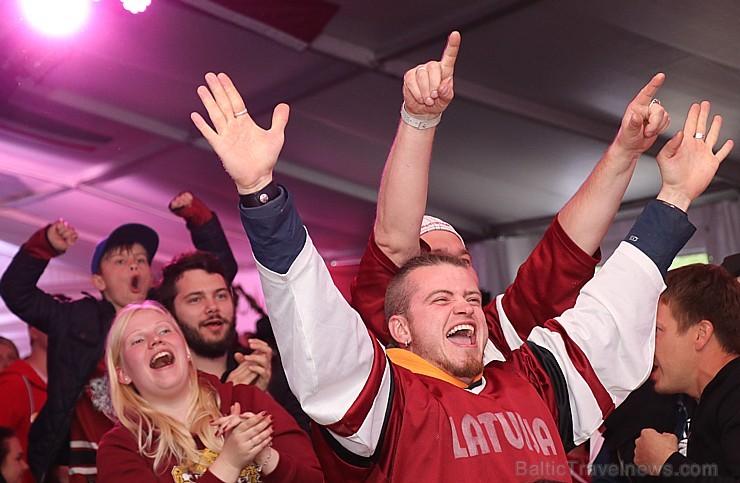 Hokeja fanu māja «Dinamo Rīga»: Latvija uzvar Austriju ar teicamu rezultātu. Atbalsta: «Rīga Istande Hotel»
