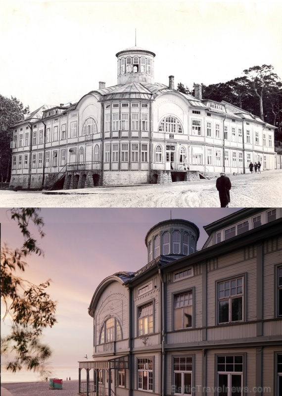 Pludmales skats Majoros, redzama kūrortpoliklīnikas ēka, bijusī E. Rācenes peldu iestāde. 20.gs. 60.–70. gadi un mūsdienas