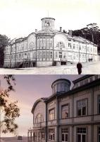 Pludmales skats Majoros, redzama kūrortpoliklīnikas ēka, bijusī E. Rācenes peldu iestāde. 20.gs. 60.–70. gadi un mūsdienas 7