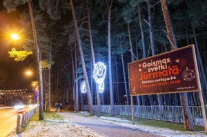 Jau trešo gadu Jūrmalā, Dzintaru mežaparkā, iemirdzējušās gaismas skulptūras un dekori, veidoti no tūkstošiem LED lampiņu virtenēm 11