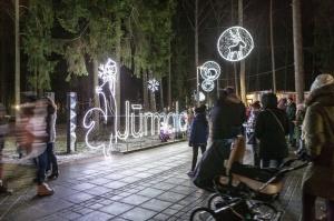 Jau trešo gadu Jūrmalā, Dzintaru mežaparkā, iemirdzējušās gaismas skulptūras un dekori, veidoti no tūkstošiem LED lampiņu virtenēm 13
