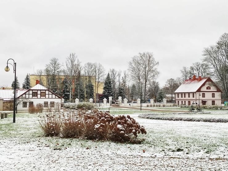 Krāslava  ietinas baltā sniega rotā. Foto: Inga Pudnika 294582